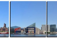 Baltimore Inner Harbor Panoramic   mosaic wall art 5 pieces 8×8″ PhotoSquared photo tiles