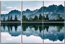 Snow Capped Mountains by the Lake   mosaic wall art 10 pieces 8×8″ PhotoSquared photo tiles