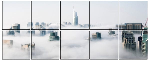 City Skyscrapers through the Clouds on 10 stylish PhotoSquares