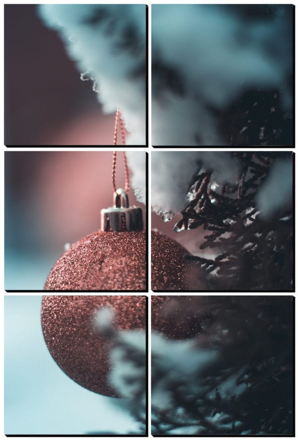 Glittery Christmas ornament in a snowy tree on 6 stylish PhotoSquares