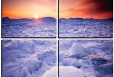 Sunset over the Icefields mosaic wall art 4 pieces 8×8″ PhotoSquared photo tiles